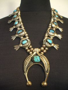 Vintage NAVAJO Sterling Silver and TURQUOISE Squash Blossom Necklace, INDIAN Arts Pavilion #TurquoiseKachina, $739.10