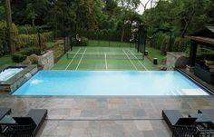 home tennis court near infinity pool