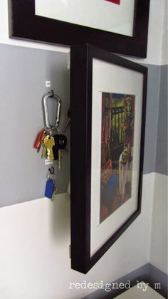 DIY Storage Ideas - Hidden Key Storage - Home Decor and Organizing Projects for. DIY Storage Ideas - Hidden Key Storage - Home Decor and Organizing Projects for The Bedroom, Bathroom, Living Room, Panty and Storage Proje. Key Storage, Entryway Storage, Secret Storage, Extra Storage, Organized Entryway, Entryway Ideas, Garage Storage, Organized Garage, Ikea Entryway