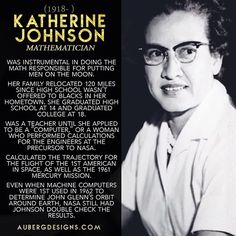 Before Katherine Johnson became a Physicist & Mathematician responsible for putting men on the moon, she was a teacher and Stay At Home Mom. Later, she applied to NASA to calculate trajectories for space flights. Great Women, Amazing Women, Smart Women, Apropiación Cultural, Katherine Johnson, Black History Facts, Man On The Moon, Badass Women, African American History