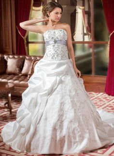 Ball-Gown Strapless Cathedral Train Taffeta Organza Wedding Dress With Embroidered Ruffle Sash Beading Sequins #wedding #dress