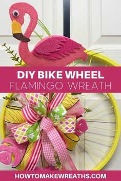 You know you want one. You're looking at it right now, aren't you? Okay, so we'll just cut to the chase- this wreath is easy as pie, takes minimal supplies (including bike wheels), and will make your door look like a million bucks. Trust us on that last part. Follow these steps for how to make the easiest flamingo wreath in town!