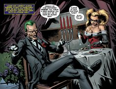 """Joker and I weren't always enemies. In fact, in those early days, we got along cordially. Or I wouldn't 'ave invited them both on opening night"" The Joker: ""Oswald, my fine feathered friend. You throw a mean shindig! You even got me to wear my Sunday best."" Harley: ""Cleans up nice, don'tcha think? Black isn't his color."""