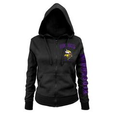 New Era Minnesota Vikings Women's Black Playbook Glitter Sleeve Full-Zip Hoodie