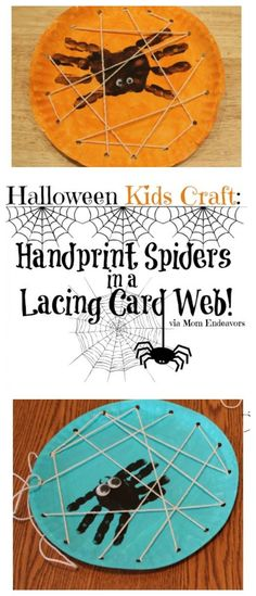 Halloween Kids Craft: Handprint Spiders in a DIY Lacing Card Web via momendeavors.com