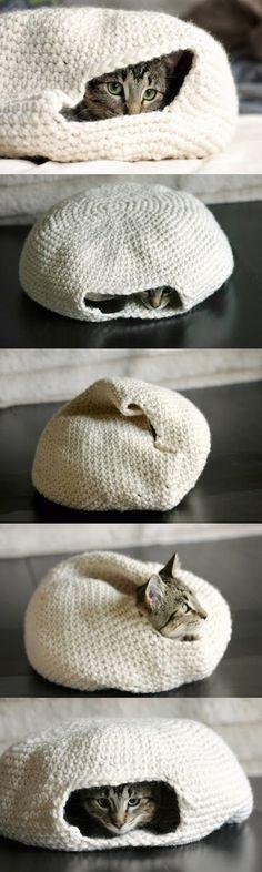 Handmade Crochet Cat Bed. Love it.