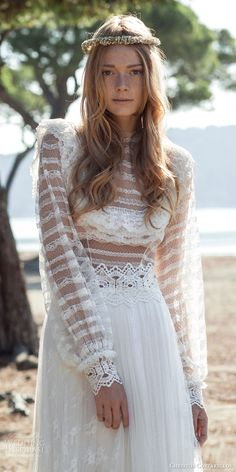 christos costarellos bridal spring 2016 romantic bohemiad lace wedding dress long sleeves sheer bodice