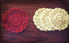 crocheted lace coasters, quite the charm