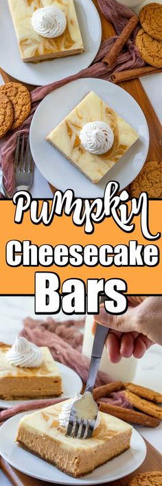 These Easy Swirl Pumpkin Cheesecake Bars are simple to make and a great make ahead dessert! Perfect for Thanksgiving!! Pumpkin Deserts, Savory Pumpkin Recipes, Pumpkin Cheesecake Bars, Cheesecake Recipes, Dessert Recipes, Fall Recipes, Thanksgiving Recipes, Ginger Snap Cookies, Fall Desserts