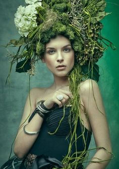 Mossy headdress...in the 18th century, women used to make moss gardens in their wigs. Need to see if I can find any photos of that...