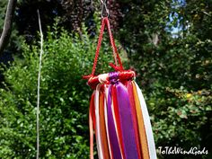 Boho ribbon mobile colorful garden porch by ToTheWindGods on Etsy