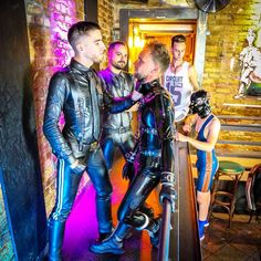 Image may contain: 4 people, indoor Mens Leather Pants, Tight Leather Pants, Biker Leather, Black Leather, Leather Tops, Rubber Catsuit, Latex Men, Gay Aesthetic, Comfy Pants