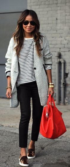 Stripes, black pants, leopard shoes, gray coat, red bag