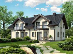 Projekt domu Trivento Termo 121,94 m2 - koszt budowy 175 tys. zł - EXTRADOM Duplex House, Home Fashion, House Plans, Exterior, House Design, How To Plan, Architecture, House Styles, Building
