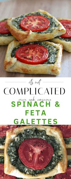 With a few ingredients, you will be able to quickly assemble these Spinach and Feta Galettes. Appetizer Recipes, Snack Recipes, Cooking Recipes, Vegetarian Recipes, Healthy Recipes, Spinach And Feta, Pastry Recipes, Galette, Gastronomia