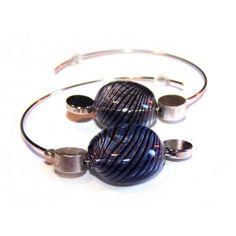 BO Créoles perles en verre soufflé RONDS BLEUES/NOIRES