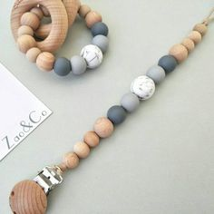Attache tétine sucette Dummy clip pacifier chain holder soother wood beech silicone baby gift -porta