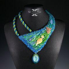 Adora-Bubble Statement Necklace, Shibori Silk Ribbon, Bead Embroidery, Beadweaving on Etsy, $516.67 AUD