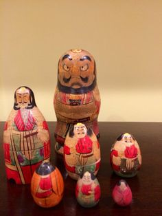 Antique Japanese Samurai Wood Nesting Dolls 7 Complete Set RARE | eBay 125$ Dec 2013