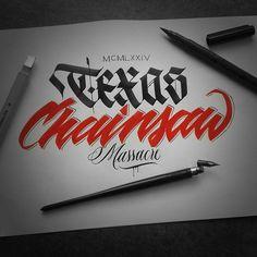 40th Anniversary... #thetexaschainsawmassacre #texaschainsaw #anniversary #tobehooper #leatherface #movie #frakone #calligraffiti #calligraphy #lettering #handwriting #blackletter #fraktur #gothic #brushpen #hxcalligraphy | von FrakOne