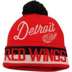 eec792696a6 Mens Detroit Red Wings Red CCM Cuffed Knit Beanie w Pom