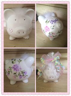 Wine Mom, Cute Piggies, Personalized Baby Gifts, Piggy Bank, New Baby Products, Decoupage, Birthday Gifts, Great Gifts, Hand Painted