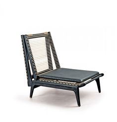 Anonymous; Lacquered Wood and Nylon Cord Adjustable Lounge Chair/Daybed, c1960.