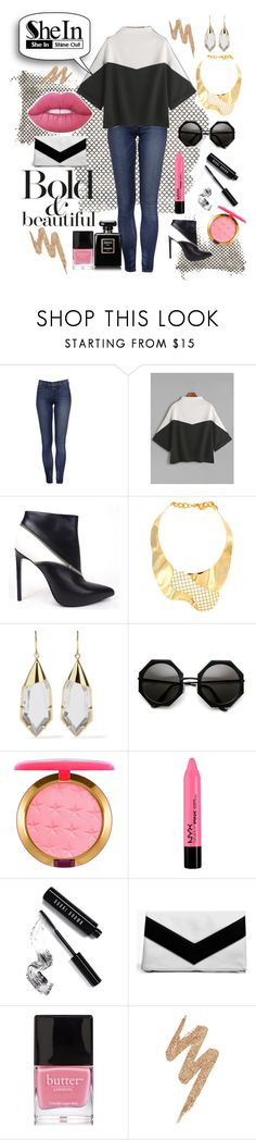 """""""Shein Color Block Shirt"""" by hollybgdesigns ❤ liked on Polyvore featuring Yves Saint Laurent, Joanna Laura Constantine, Noir Jewelry, Lime Crime, Magdalena, MAC Cosmetics, Bobbi Brown Cosmetics, Boohoo, Butter London and Urban Decay"""