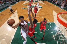 O.J. Mayo #00 of the Milwaukee Bucks shoots the ball against the Chicago Bulls on April 1, 2015 at the BMO Harris Bradley Center in Milwaukee, Wisconsin. (Photo by Gary Dineen/NBAE via Getty Images)
