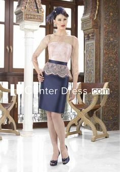 $138.89-Vintage sTYLE Pencil Short Lace Jewel Neck Satin Mother Of The Bride Dress with 3/4 Sleeves. http://www.ucenterdress.com/pencil-short-lace-3-4-sleeve-jewel-neck-satin-mother-of-the-bride-dress-pMK_304059.html.  Tailor Made mother of the groom dress/ mother of the brides dress at #UcenterDress. We offer a amazing collection of 800+ Mother of the Groom dresses so you can look your best on your daughter's or son's special day. Low Prices, Free Shipping. #motherdress