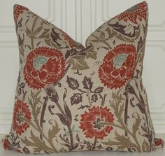 Decorative Teal Brown Red 18x18 Mingei Floral Print Toss Throw Pillow Accent Covers. $28.00, via Etsy.