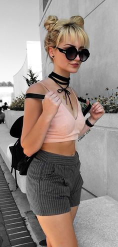 Grey Stripe Zipper Fly Pocket Shorts with pink cami top - Street Fashion