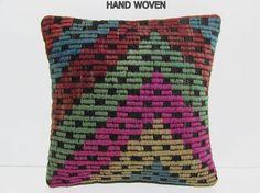 HAND WOVEN pink kilim pouf pillow green retro cushion cover