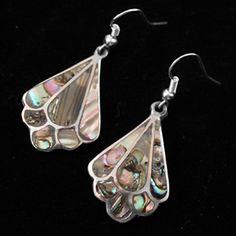 Mayan Dancers -These abalone shell earrings are a classic Mexican shape and remind one of the beautiful dancers in their colourful dresses. They have hypo allergenic surgical ear wires, the safest wire you can use in your ears.  Match these with any one of our abalone pendants to create an individual set.