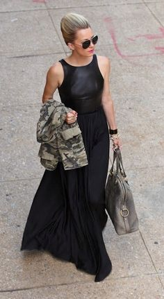 Juxtaposition is always in style!  Leather tank, flow-y maxi skirt and camo jacket...YES!