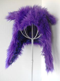 Fuzzy Monster Aviator hat Grape Ape by MostlyMonstersCV on Etsy, $35.00