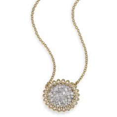 Plevé Ice Diamond & 18K Yellow Gold Mini Flower Pendant Necklace (4037440 IQD) ❤ liked on Polyvore featuring jewelry, necklaces, apparel & accessories, gold, chain necklaces, gold fine jewelry, 18k gold necklace, gold diamond necklace and diamond necklace