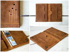 Brown Leather passport holder cover wallet/card by ByHandStore