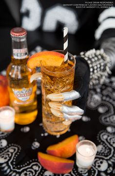 INSTA COPY: BARBARIAN BELLINI You know you're #GamedayReady when you pop open your drink with claws. The Barbarian Bellini is the perfect cocktail for Hallloween football and spooky tailgates.     Mix 1 Bottle Smirnoff ICE Peach Bellini, 1oz Myers Dark Rum Float, Muddled Peach.
