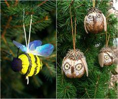 Basteln Naturmaterial Deko Eule Weiß Filz Farbe Weiß Walnussganz Tannenbaum    Weihnachten   Pinterest   Creative Crafts, Child And Natural