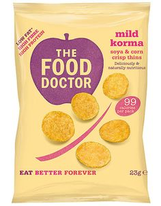MILD KORMA CORN & SOYA CRISP THINS 23G  The Food Doctor Crisp Thins contain less than 99 calories per bag whilst also delivering high levels of protein (25%) & fibre. 80% of people eat too little fibre in their diet, so this is a delicious and healthy answer to that problem. Our Crisp Thins are also 50% lower in saturated fat than standard fried potato based crisp snacks.  SHOP: http://www.thefooddoctor.com/src/fdcom/MILD-KORMA-CORN-and-SOYA-CRISP-THINS-23G-PCTMILDKORMA/