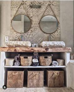 Cement tiles in the bathroom: 20 inspiring ideas! - Kozikaza - Bathroom with double marble basins, decorative cement tiles Bathroom Inspiration, Deco, Cement Tile, Bathroom Red, Bathroom Decor, Country Bathroom, Interior, Bathroom Design, Home Decor