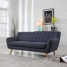 Mid-Century Modern Linen Fabric Sofa, Loveseat in Colors Light Grey, Polo Blue, Sky blue, Yellow and Red (Polo Blue, 3 Seater)