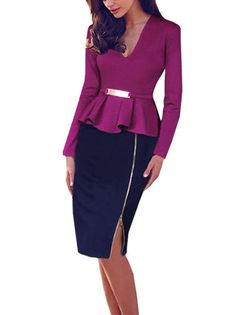 Elegant V-neck Two Pieces Contrast Long Sleeve Knee Length Work Dress on buytrends.com