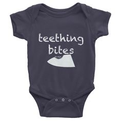 Teething Bites Baby Onesie #beanandjean Short-sleeve baby onesie is printed on American Apparel's soft, comfortable, 100% cotton. It's designed to fit infants of all sizes, with a rib knit to give good stretch and a neckband for easy on-and-off.  • 100% baby rib cotton construction (heather contains 10% polyester) • Made and printed in the USA • Neckband for easy on-and-off • Not intended for sleepwear • Shrinkage: it will shrink an average of one size when put in the dryer