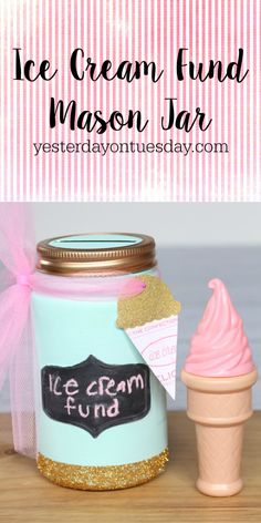 DIY Ice Cream Fund Mason Jar, a fun way to recycle a Mason Jar and save money for all those summertime ice cream cones!  Free printable ice cream art too.