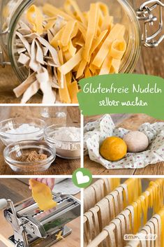 Glutenfreie Nudeln selber machen – plastikfrei, mit und ohne Ei Making gluten-free noodles yourself is not difficult. You can easily make them to your taste from different types of flour – with and without egg. Keto Waffle, Waffle Recipes, Pasta Recipes, Low Carb Recipes, Cooking Recipes, Coconut Flour Bread, Types Of Flour, Fodmap, Food Videos
