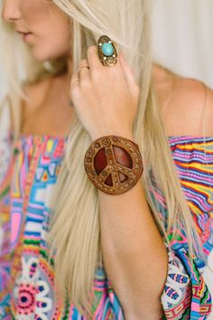 Peace Sign Leather Cuff