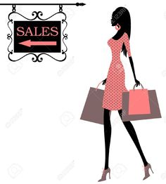 e4ee178bd Vector illustration of a girl, holding shopping bags and looking at a