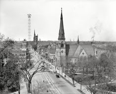 Up Woodward Ave. from Grand Circus Park, 1908. Moonlight towers as far as the eye can see.